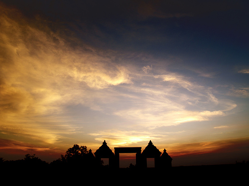 sunset boko temple